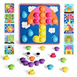 NextX Button Art Toddler Game, Color Pink Matching Mosaic Pegboard, Easy to Storage, Peg Puzzle Educational Toy, Toddler Activities Learning Button Blocks, Stem Toys for 2, 3, 4 Years Old Girls Boys