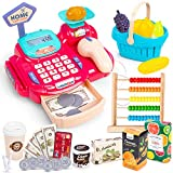 Pilova 26PC Kids' Grocery Store Pretend Play Set, Toy Cash Register for Kids Playset with Abacus, Calculator, Credit Card, Scanner, Lights, Sounds, and More, Educational STEM Gift for Boys and Girls