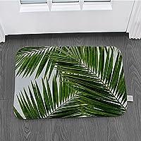 玄関マット 緑の植物の葉滑り止めカーペット屋外キッチンバスルームリビングルームフロアマットカーペット 屋外キッチンリビングルームカーペット屋外、リビングルーム、廊下、中庭フロントバックドア用家の装飾ギフト60X90Cm
