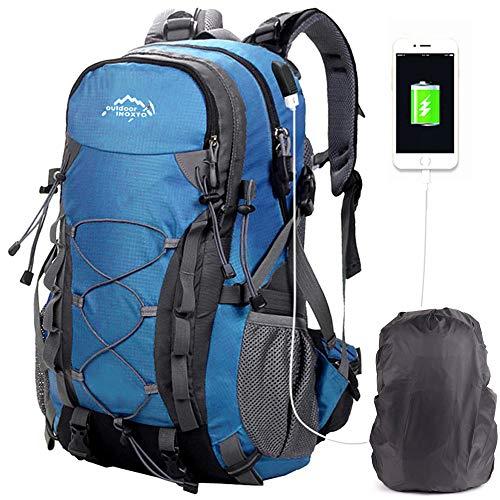 Mochilas De Marcha, Mochila De Senderismo Trekking Mujer Hombre Resistente Al Agua 40L litros Al Aire Libre Ligera Gran Capacidad para Viajes Montañismo Escalada USB Backpack (4-Azul)