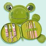 Juego de pedicura de Acero Inoxidable Kit de Cuidado de uñas de 7 Piezas con Estuche Lindo para Viajes,Frog