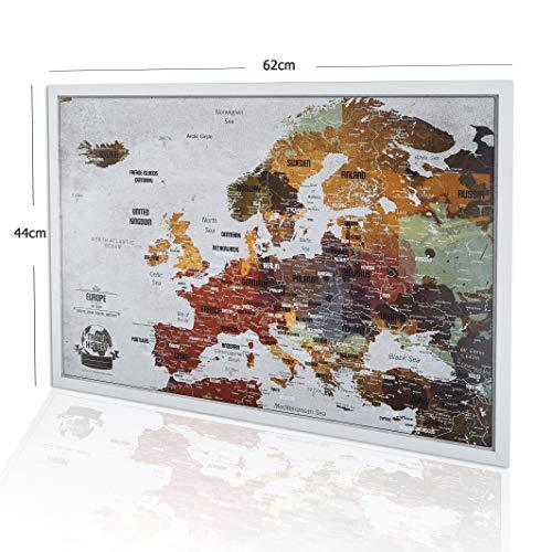 Grande mappa da viaggio con puntine, design creativo, 53 x 73 cm, personalizzabile con mappa di viaggio, mappa Europa con perni per segnare i viaggi, prodotta in Europa