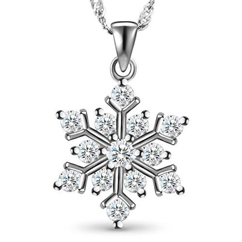 SHEGRACE Damen Glitter Schneeflocke Halskette aus 925 Sterling Silber mit Micro Pave 3A Zirkonia Halskette, Verstellbar