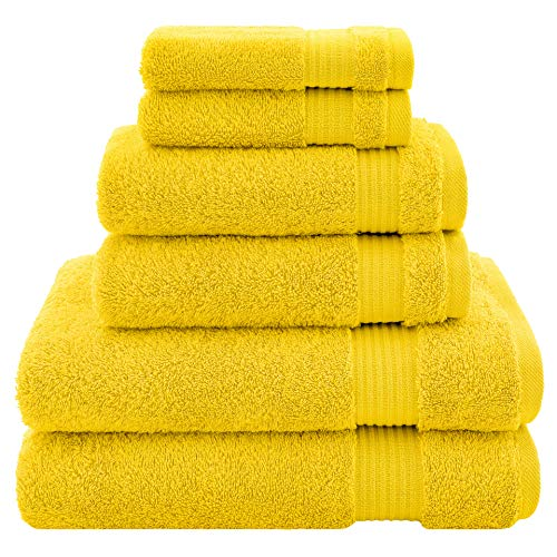 Hotel & Spa Quality, Absorbent & Soft Decorative Kitchen & Bathroom Set, Turkish Cotton 6-Piece Towel Set, Includes 2 Bath Towels, 2 Hand Towels, 2 Washcloths - Lemon Yellow