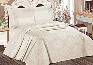 Pharpar Ozdilek 100% Cotton Premium Elegant Bedding Set, 6-Piece Pique Bedspread Coverlet Set - Evo krem