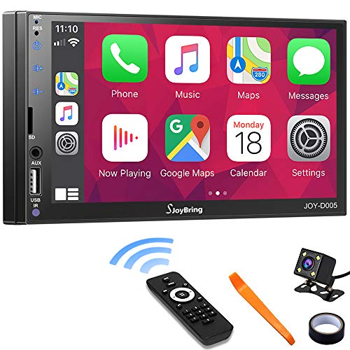 Car Stereo Compatible with Apple Carplay and Android Auto - Double Din Car Multimedia Player, 7 Inch LCD Touchscreen Monitor, Bluetooth, MP3 Player, USB Port, A/V Input, FM Car Radio, Backup Camera