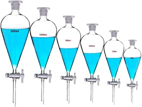 500ML Polypropylene Separating Funnel,Conical Plastic Separatory Funnel lab with 24//29 Joints and PTFE Stopcock ,Leak-Proof Screw Cap and Clear Graduated