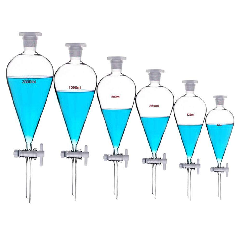 125 m konischer Trichter mit PTFE-Absperrhahn Glaswaren 24//29 1000 ml 500 ml 250 ml