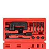 Drive Cam Chain Link Breaker, Professional Chain Press Riveting Cutter Removal Repair Tool Kit for Bike, ATV and Dirt-Bike, 13 Pieces