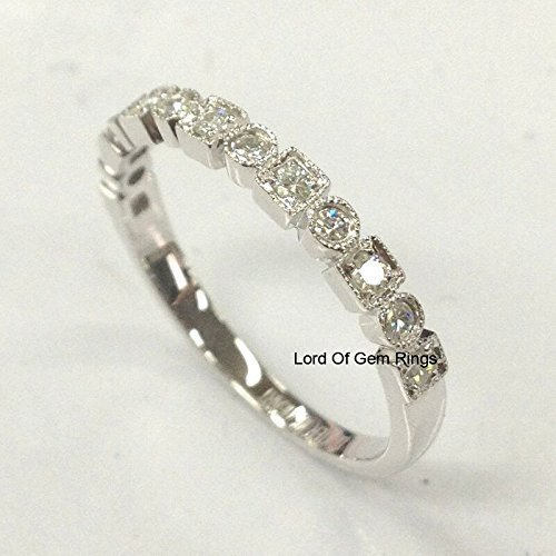 0.15 CT Colorless Round Moissanite White Gold Half Eternity Band,Sterling Silver Band,Wedding Band,Friendship Day Gift
