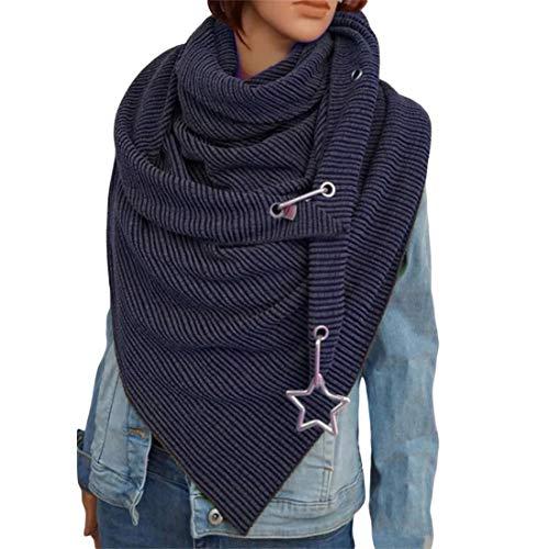 OZZlOR Damen Schal Dreieck Schal Shawl Groß Elegant wickelschal damen mit knopf Lässig Herbst Winter Schal Halstücher Poncho Weicher Schal(B#Blau)