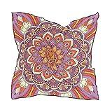 QMIN - Pañuelo cuadrado de seda indio, diseño de mandala floral de moda, pañuelo...