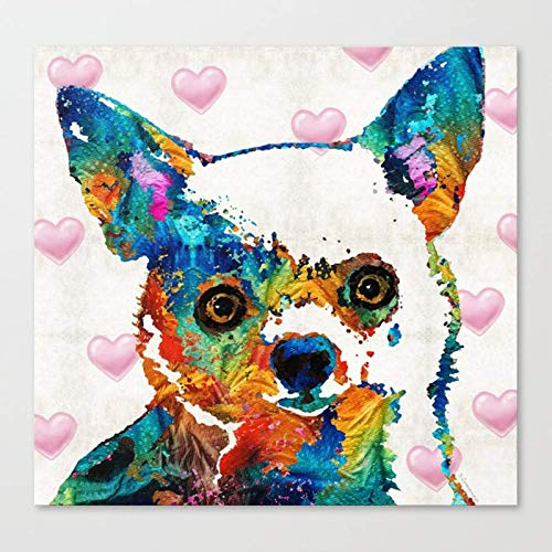 mlpnko Colored dog Canvas Acrylic Paints Painting for Adults and Kids Beginner40x40cm no frame