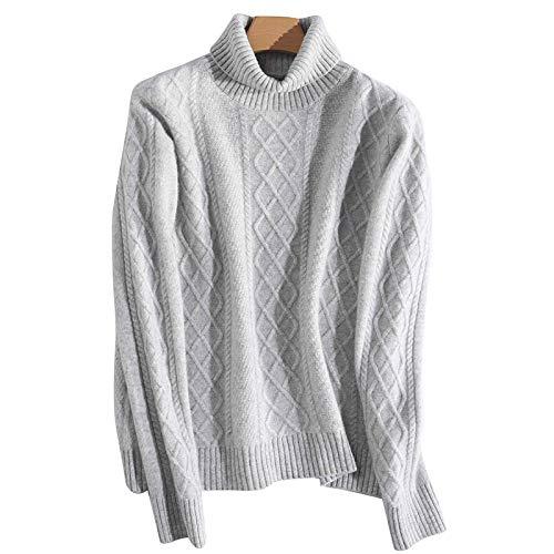 Moda Sudaderas Jersey Sweater Suéter De Cuello Alto Vintage para Mujer Prendas De Punto Otoño Invierno Ropa Suéter Suéter De Mujer Jumper XL Gris