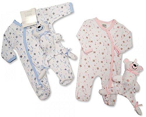"""Zwillinge Strampler Schlafoveral Set\""""Teddybear\"""" Newborn Geschenkset in rosa u. hellblau im Doppelpack/Zwillingsset Zwillinge Pärchen Strampler aus England"""