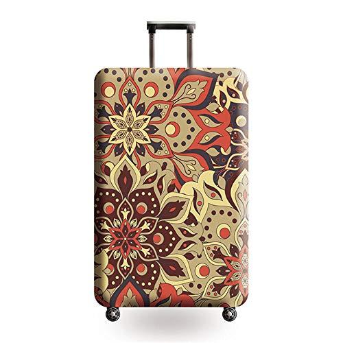 Travel Luggage Cover Suitcase Protector Elastic Trolley Case Protective Cover Fits L:26-28 inch (Brown Pattern)