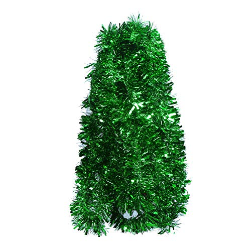 DECORA Green Tinsel Garland for Christmas Tree Decorations Wedding Birthday Party Supplies 33 FEET