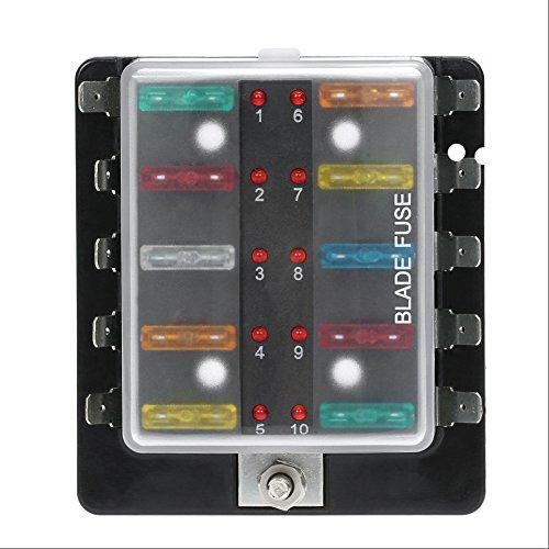 Preisvergleich Produktbild Qiilu Circuit Blade Sicherungskasten Blockhalter mit LED Warnleuchte Kit für Auto Van Boat Marine (10 Weg)