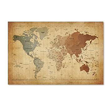 Time Zones Map of The World Artwork by Michael Tompsett 22 by 32-Inch Canvas Wall Art