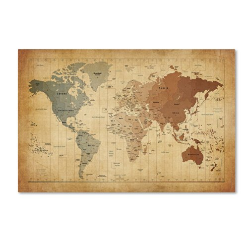 Time Zones Map of The World Artwork by Michael Tompsett, 22 by 32-Inch Canvas Wall Art