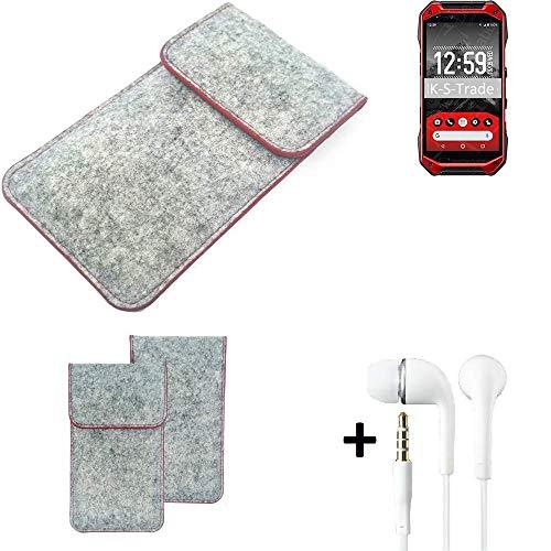 K-S-Trade® Handy Schutz Hülle Für Kyocera Torque G04 Schutzhülle Handyhülle Filztasche Pouch Tasche Case Sleeve Filzhülle Hellgrau Roter Rand + Kopfhörer