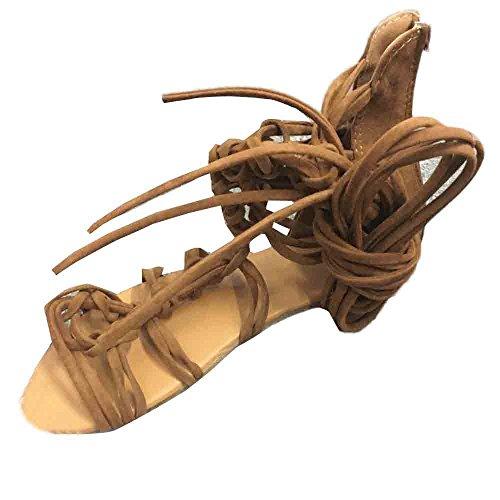 Elecenty Sandalen Damen,Schuhe Hohe Stiefel Shoes Schuh Böhmen Sommerschuhe Sandaletten Geflochten Frauen Sommer Offene Flach Badesandalette Reißverschluss Elegante Strandschuhe (39, Braun)