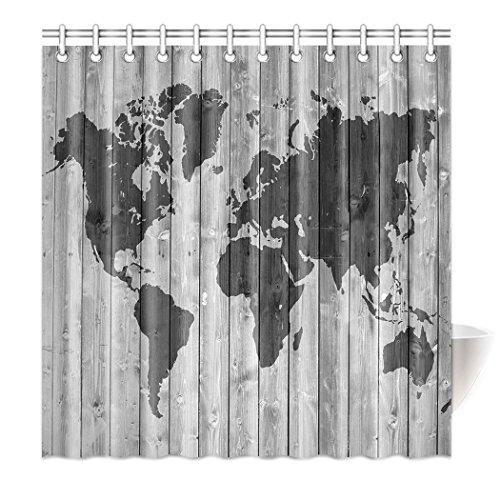 Violetpos Top Qualität Anti-Schimmel Duschvorhang Digitaldruck für Badezimmer Badvorhänge Einfach Graue Holzmaserung Weltkarte 90 x 180 cm