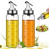 Dispensador de Aceite,2 Set Aceitera Botella Antigoteo Aceitera y Vinagrera Antigoteo de Cristal y Acero Inoxidable para Cocinar BBQ Barbacoas Pasta Parrillas