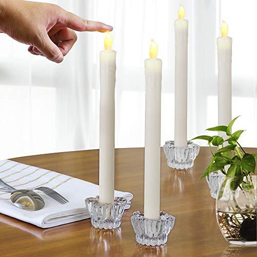 4 LED Echtwachs Stabkerzen mit Kerzenständern Glas flackernd batteriebetrieben Ø2,1 x 26cm Tafelkerzen Kerzen creme weiß