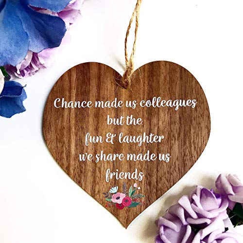Chance made us Colleagues Fun and Laughter Wooden Hanging Heart Leaving Gift Plaque Work Friendship Sign