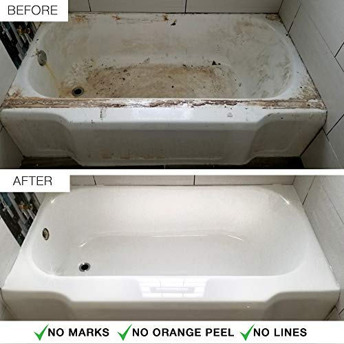 ArmoGlaze Bathtub Refinishing Kit - Easy Pour-On Application - Mirror Like Finish - White - Made in USA