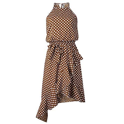 TSWRK Damen Sommerkleid Punktes Kleid Ärmellos Partykleid Wickelkleider mit Gürtel, braun ( Kaffee), XL