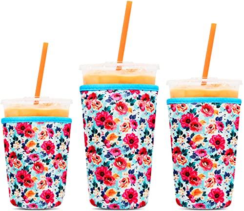 3 Pack Reusable Coffee Sleeves - Tall/Grande, Venti, Trenta - P.LOTOR Soft Cups - Iced Coffee Cozy Insulator - Neoprene Holder for Dunkin Donuts Coffee, McDonalds Coffee, Mccafe Coffee, Starbucks C