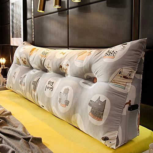 HOMRanger Cuña Triangular Doble Cojín De Cabecero,PP-algodón Relleno Tapizado Cama Cabecero Cojines Cintura De Apoyo Lavable Gran Almohada De Lectura-e 60x23x50cm(24x9x20)