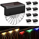 Solar Deck Lights Outdoor, 8 Pack Solar Step Light Waterproof Solar Fence Lights for Patio Stairs...
