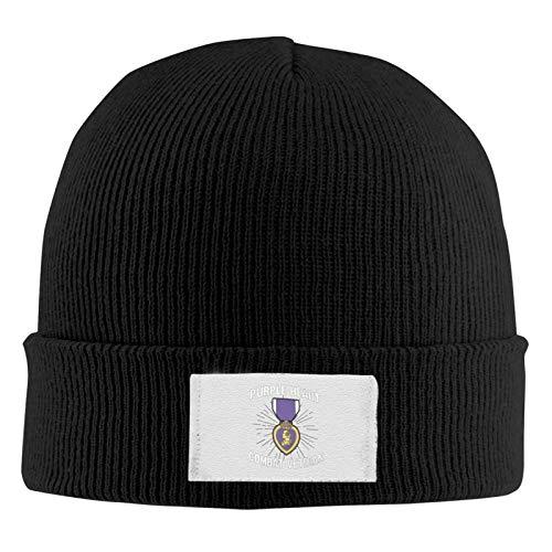 FFull-BAtttery-Shop Berretto di cotone morbido Cuore viola Medaglia militare veterano dell'esercito americano Unisex Cappello lavorato a maglia elastico Cappello Cappello orologio acrilico