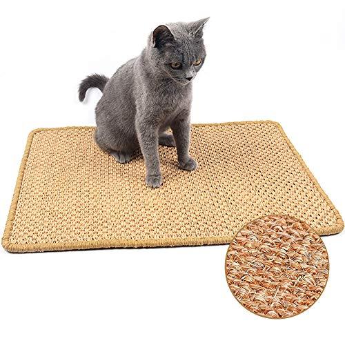 JUVEL Katzenkratzmatte, natürliches Sisal-Seil-Kratzpad für Katzenschleifklauen und zum Schutz von Teppichteppichmöbeln, langlebiges rutschfestes Bodenkatzenspiel-Schlafkratzspielzeug (M : 40×60cm)