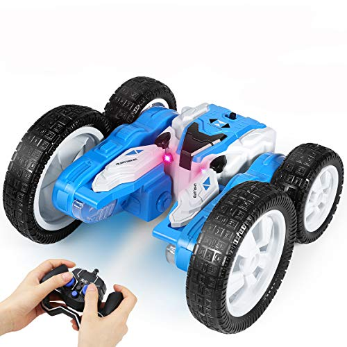 Remote Control car, 2.4GHz Electric Race Stunt Car, 360° Spins & Flips 180° Swing Rotating Car with Led Lights, Double Sided Rotating Tumbling 3D Deformation Car, Kids Xmas Toy Cars for Boys/Girls