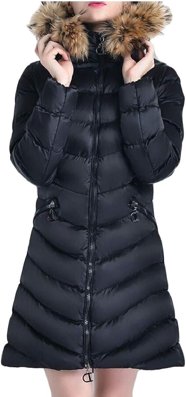 Desolateness Women's Long Down Jacket Coat with Faux Fur Trim Hood