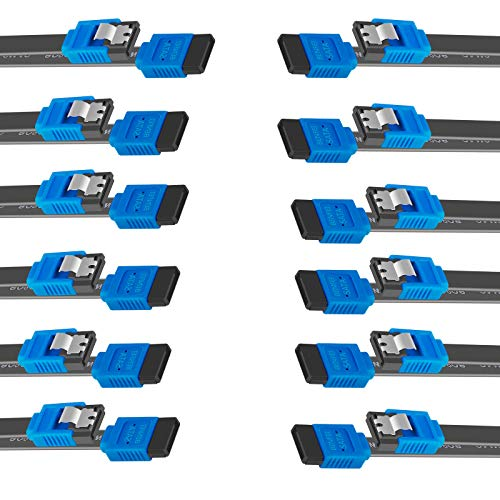 BENFEI SATA Cable III, 12 Pack SATA Cable III 6Gbps Straight HDD SDD Data Cable with Locking Latch 18 Inch Compatible for SATA HDD, SSD, CD Driver, CD Writer