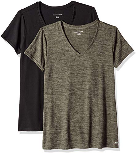 Amazon Essentials Women's 2-Pack Tech Stretch Short-Sleeve V-Neck T-Shirt, Olive Space dye/Black, Medium