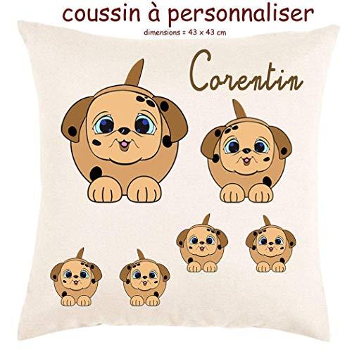 Coussin avec sa Housse Toucher très Doux Chien Personnalisable avec un Prénom Exemple Corentin