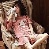Jessica Pijama Mujer Conjunto De Pijama De Algodón, Manga Corta, Ropa De Dormir Acogedora Y De Ocio, Pijama De Dos Piezas,H,M