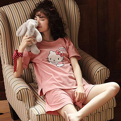 Jessica Schlafanzug DamenPyjama Set Baumwolle Kurzarm Freizeit Cosy Nachtwäsche, Damen Pjs Zweiteiler,H,M