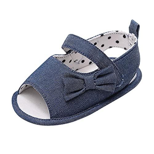 JDGY Zapatos para bebé y niña, sandalias, zapatos para aprender a andar, para verano, con cierre de velcro, cómodos, planos, antideslizantes, con lazo, para verano, azul oscuro, 20