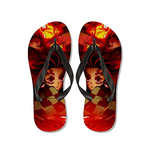 WWZY Hombre Flip Flop Chanclas Anime Kimetsu No Yaiba 3D Impresión Mado Tanjirou Sandalias Comodo Antideslizantes Verano Zapatos De Playa Y Piscina,Rojo,EU 41~42(270)