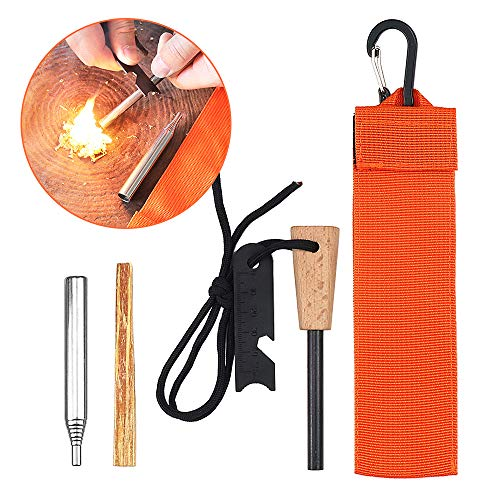 Lixada Fire Starter Feuerstarter Multifunktional Survival Flint Stone mit Feuerzeug Compass Whistle Scraper Kit