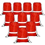 Red Drawstring Backpack Bags Reflective 10 Pack, Promotional Sport Gym Sack Cinch Bag (Red)