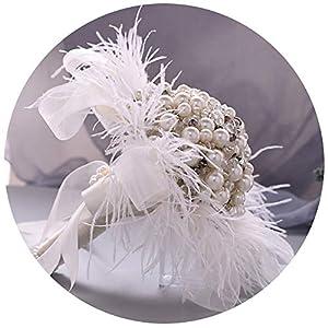 Silk Flower Arrangements Azaleas Bridal Bouquet Luxury Wedding Bouquet Flowers with Rhinstones and Pearl Wedding Bridal Bouquet(HF03)