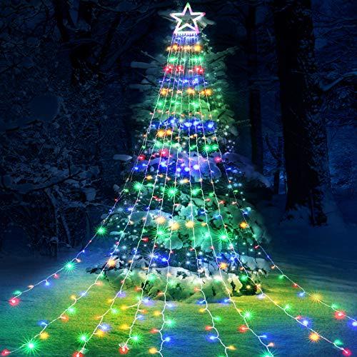 Qedertek Luci di Natale con Stella, Luci Natalizie da Esterno ed Internmo, 9 Stringhe da 3M, 8 modalita, Telecomando, Luci Decorazione Natale per Albero, Finestra, Giardino, Terrazza (Colorate)